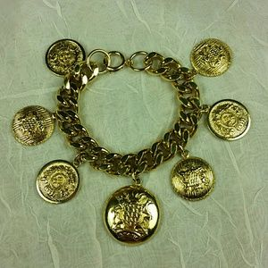 Jewelry - Gold tone Crest Coin Charm Bracelet